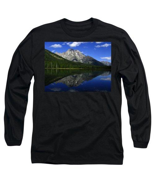 Mount Moran And String Lake Long Sleeve T-Shirt by Raymond Salani III