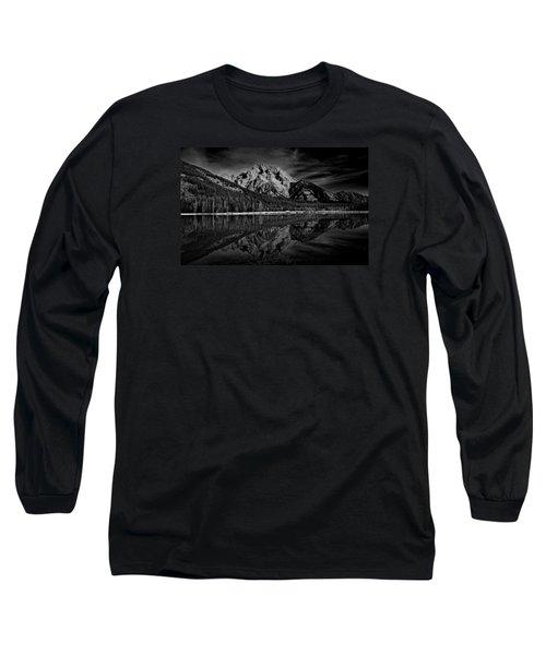 Mount Moran In Black And White Long Sleeve T-Shirt by Raymond Salani III