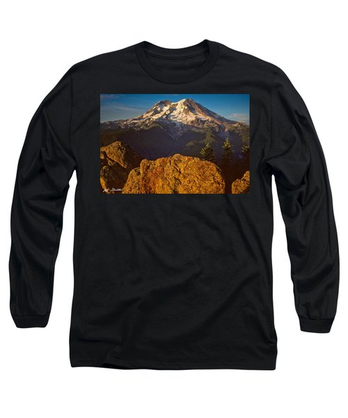 Mount Rainier At Sunset With Big Boulders In Foreground Long Sleeve T-Shirt by Jeff Goulden