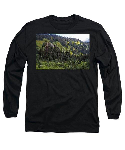 Long Sleeve T-Shirt featuring the photograph Mount Rainier Ridges And Fir Trees.. by Tom Janca