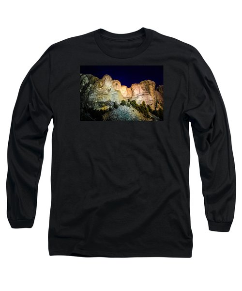 Mount Rushmore At Night Long Sleeve T-Shirt by Penny Lisowski