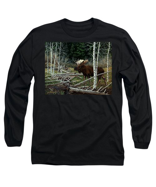 Long Sleeve T-Shirt featuring the painting Mountain Monarch by Craig T Burgwardt