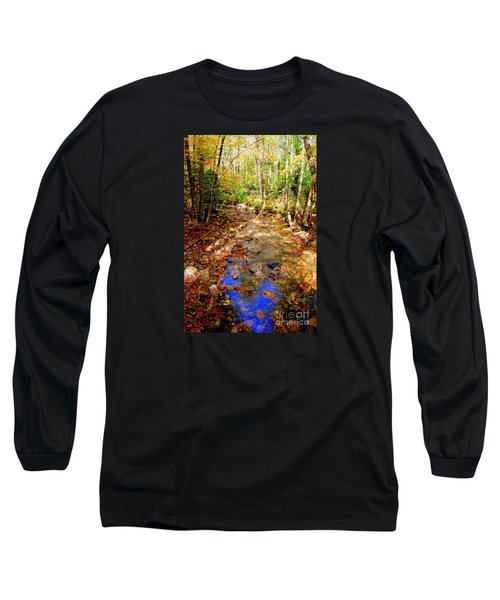 Mountain Stream Covered With Fall Leaves Long Sleeve T-Shirt by Eunice Miller