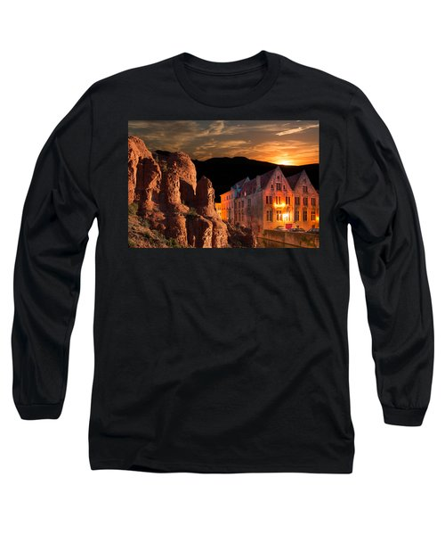 Mountain Sunset Long Sleeve T-Shirt by Fred Larson