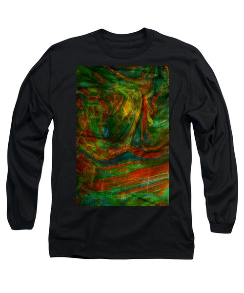 Long Sleeve T-Shirt featuring the mixed media Mountains In The Rain by Ally  White