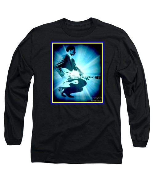 Mr Chuck Berry Blueberry Hill Style Edited Long Sleeve T-Shirt by Kelly Awad