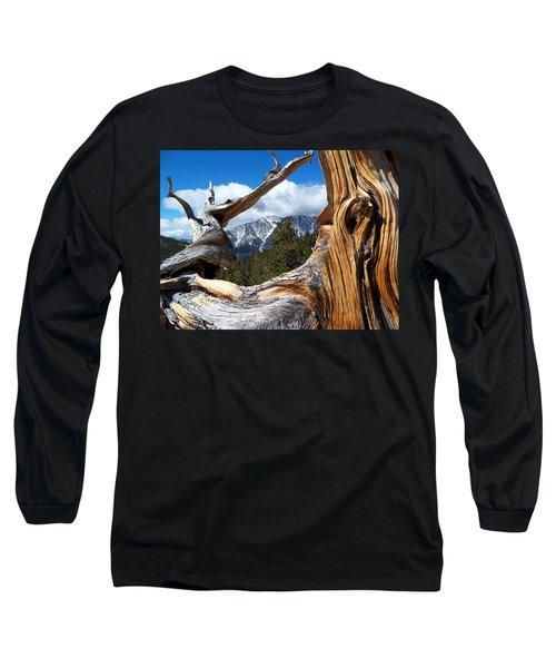 Mt. Charleston Thru A Tree Long Sleeve T-Shirt by Alan Socolik