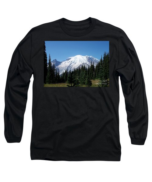 Long Sleeve T-Shirt featuring the photograph Mt. Rainier In August by Chalet Roome-Rigdon