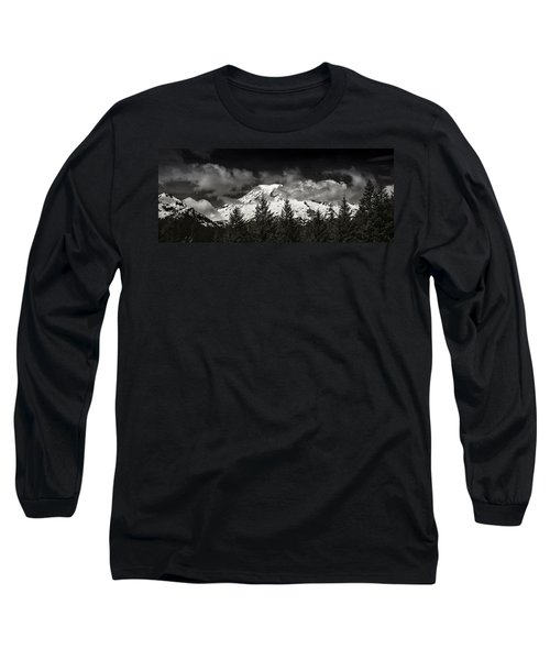 Mt Rainier Panorama B W Long Sleeve T-Shirt