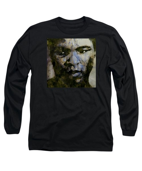 Muhammad Ali  A Change Is Gonna Come Long Sleeve T-Shirt by Paul Lovering