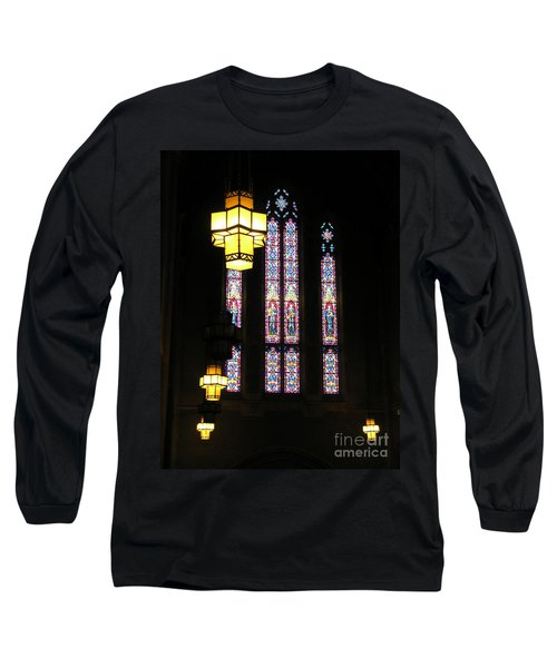 Egner Memorial Chapel Windows And Tudor Luminaries Long Sleeve T-Shirt by Jacqueline M Lewis