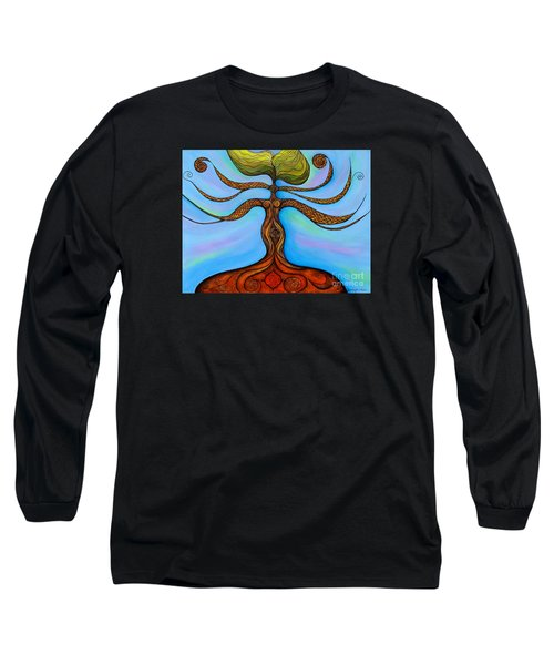Long Sleeve T-Shirt featuring the painting Muladhara by Deborha Kerr