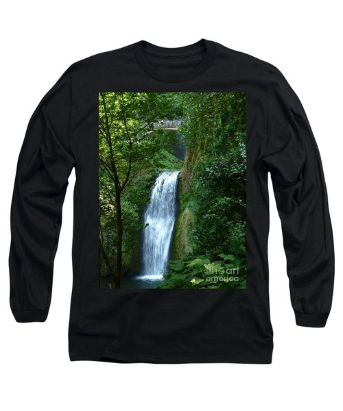 Multnomah Falls Bridge 2 Long Sleeve T-Shirt by Susan Garren