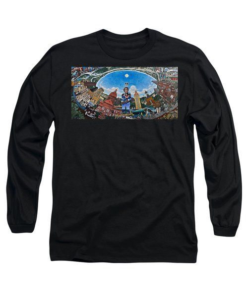 Mural Of Stephen F Austin Off Guadalupe Long Sleeve T-Shirt