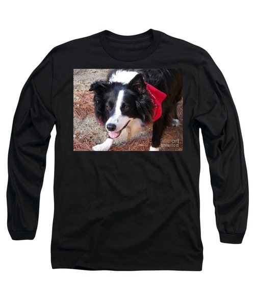 Female Border Collie Long Sleeve T-Shirt by Eunice Miller