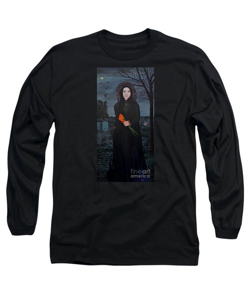 Long Sleeve T-Shirt featuring the painting Mystery by Myrna Walsh