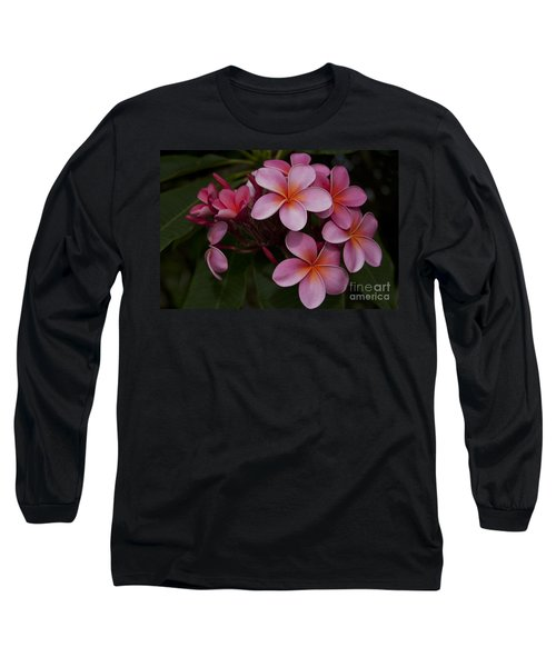 Na Lei Pua Melia O Wailua - Pink Tropical Plumeria Hawaii Long Sleeve T-Shirt