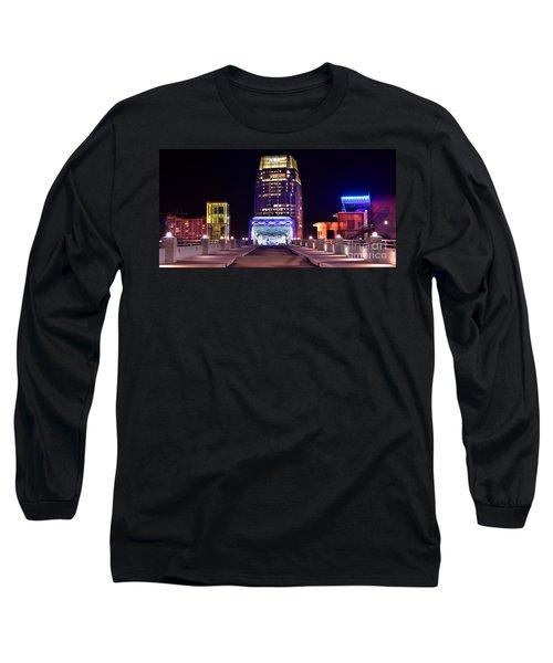 Nashville Sight Night Skyline Pinnacle Panorama Color Long Sleeve T-Shirt by Jon Holiday