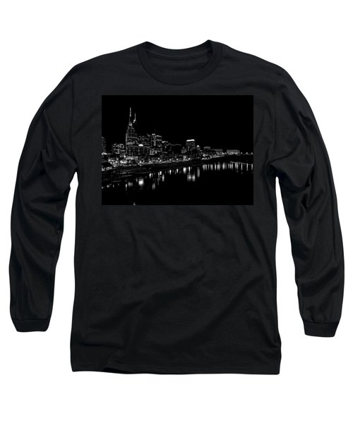 Nashville Skyline At Night In Black And White Long Sleeve T-Shirt