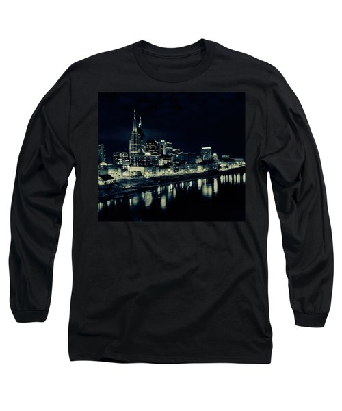 Nashville Skyline Reflected At Night Long Sleeve T-Shirt by Dan Sproul