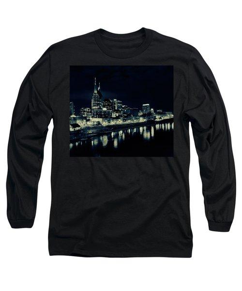 Nashville Skyline Reflected At Night Long Sleeve T-Shirt