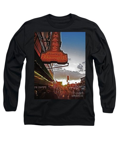 Long Sleeve T-Shirt featuring the photograph Nathan's Famous Coney Island Sunset Frankfurters by Andy Prendy