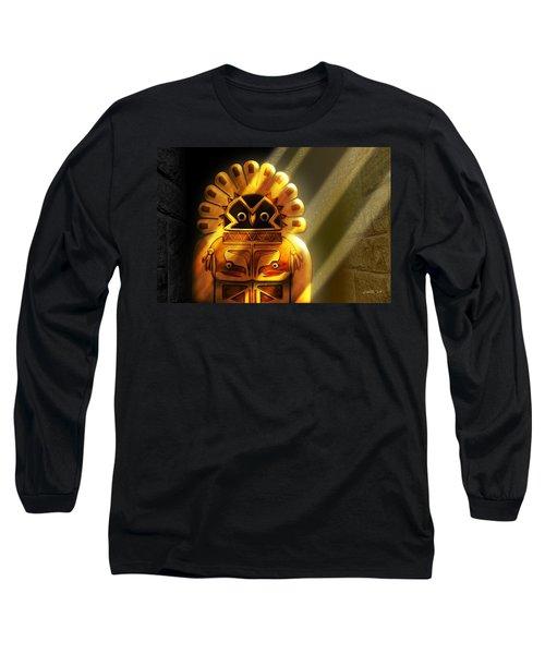 Native American Hawk Spirit Gold Idol Long Sleeve T-Shirt
