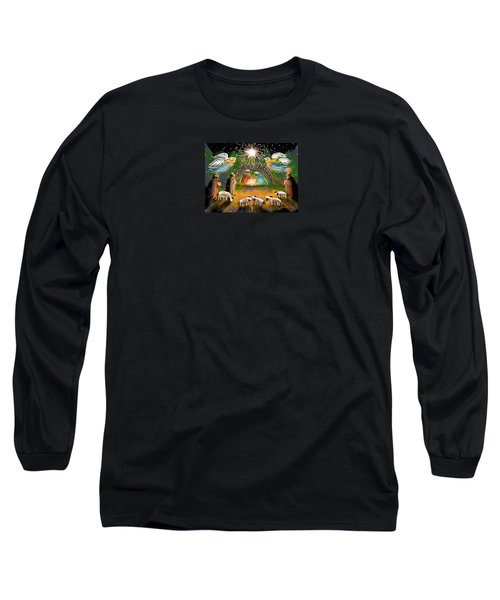 Long Sleeve T-Shirt featuring the painting Nativity by Jean Pacheco Ravinski