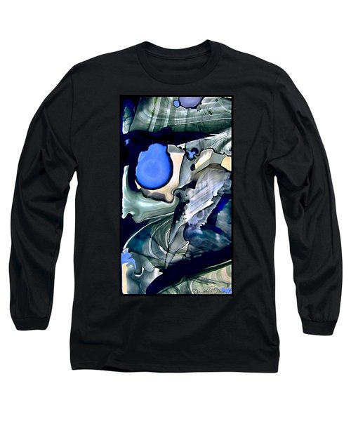 Navy Blue Sage Abstract Alcohol Inks Long Sleeve T-Shirt by Danielle  Parent