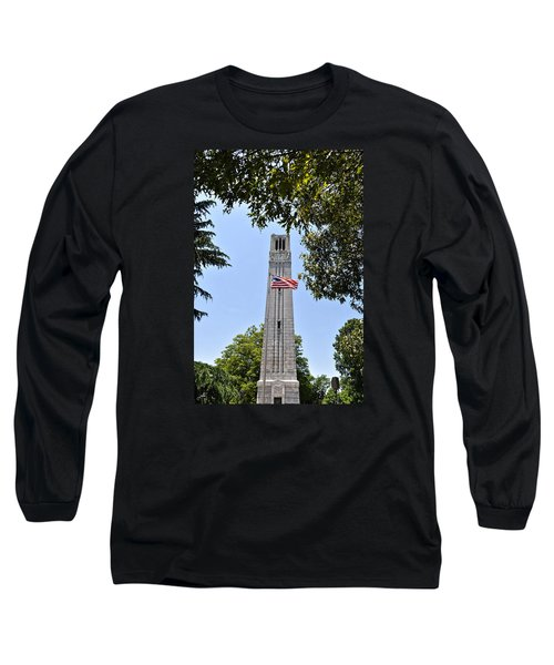 Nc State Memorial Bell Tower And Us Flag Long Sleeve T-Shirt