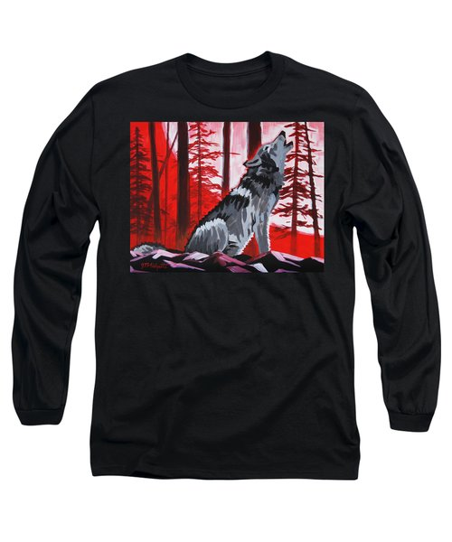 Wolf With Red Sky Long Sleeve T-Shirt
