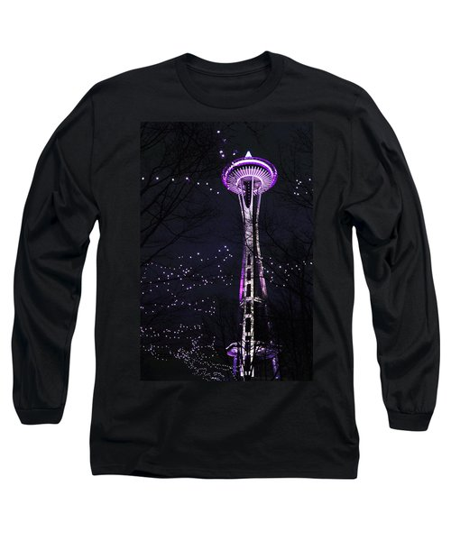 Needle In Purple Long Sleeve T-Shirt by Sonya Lang