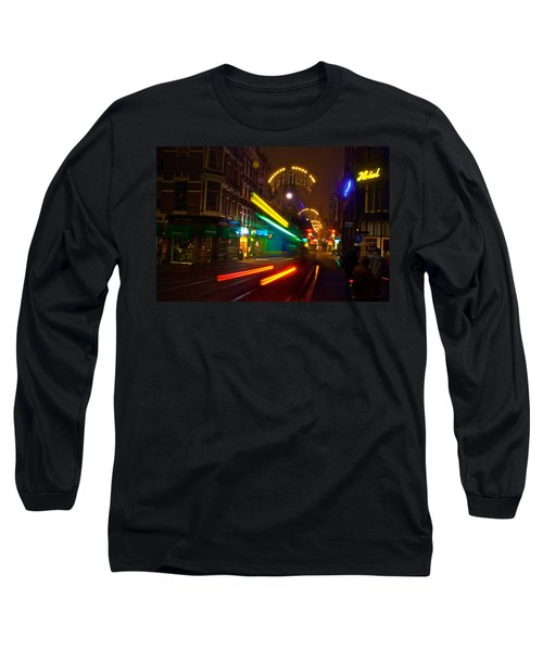 Long Sleeve T-Shirt featuring the photograph Neon Tram Leidestraat by Jonah  Anderson