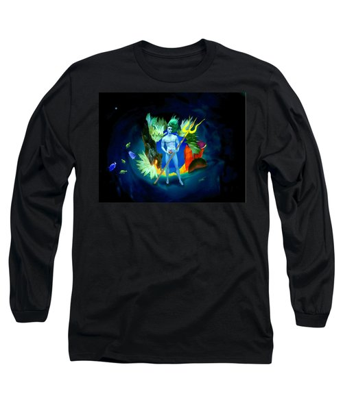 Long Sleeve T-Shirt featuring the digital art Neptune/poseidon by Steed Edwards