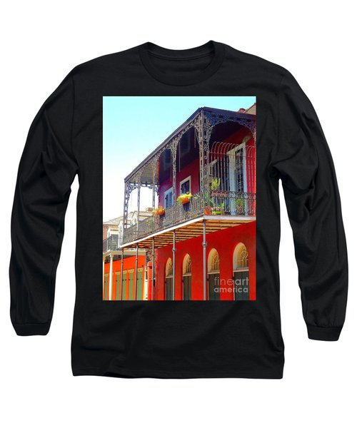 New Orleans French Quarter Architecture 2 Long Sleeve T-Shirt by Saundra Myles