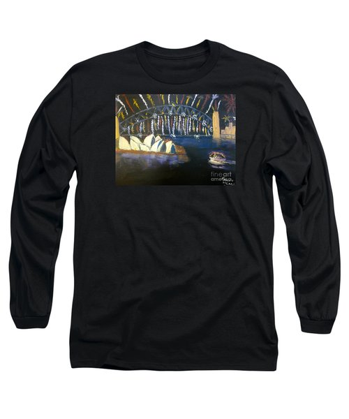 Long Sleeve T-Shirt featuring the painting New Year Eve On Sydney Harbour by Pamela  Meredith