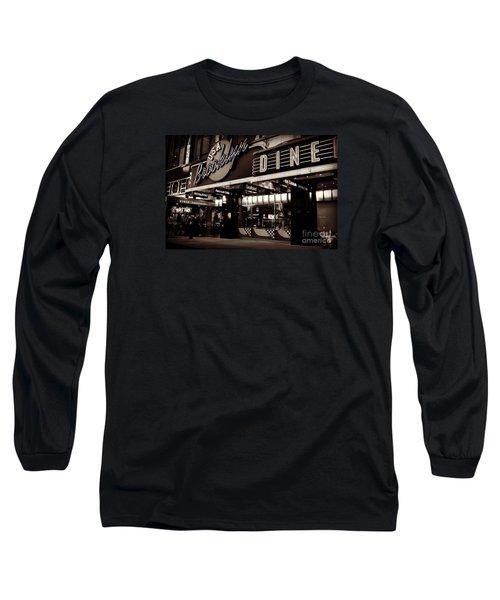 New York At Night - Brooklyn Diner - Sepia Long Sleeve T-Shirt by Miriam Danar