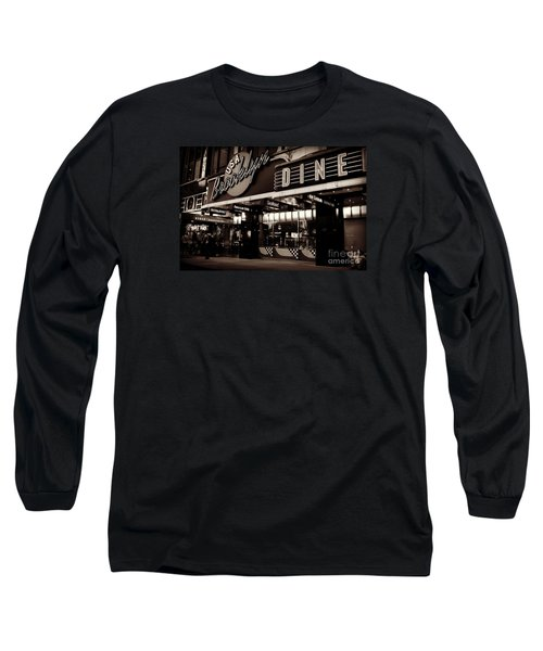 New York At Night - Brooklyn Diner - Sepia Long Sleeve T-Shirt