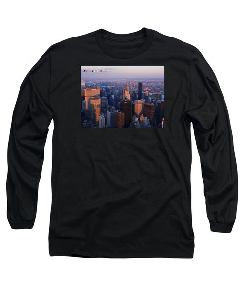 Long Sleeve T-Shirt featuring the photograph New York City At Dusk by Emmy Marie Vickers