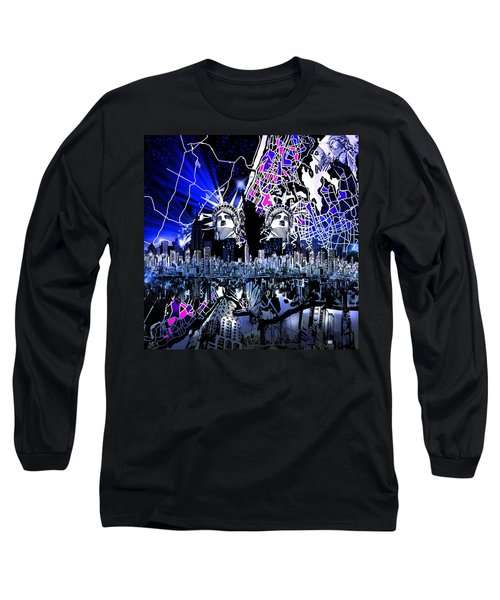 New York Map Abstract 4 Long Sleeve T-Shirt