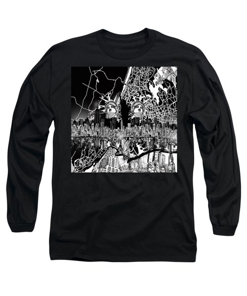 New York Map Black And White 2 Long Sleeve T-Shirt by Bekim Art