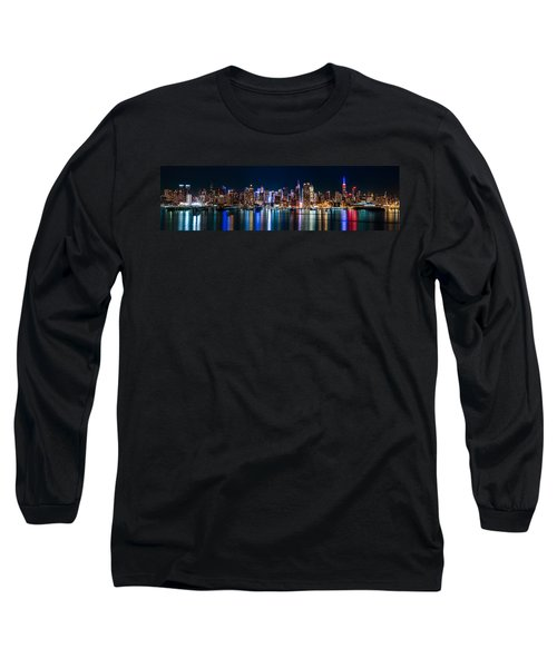 New York Panorama By Night Long Sleeve T-Shirt