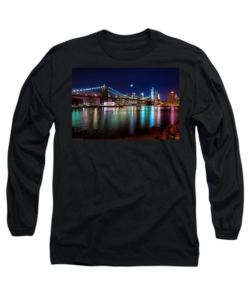 New York Skyline And Brooklyn Bridge With Crescent Moon Rising Long Sleeve T-Shirt by Mitchell R Grosky