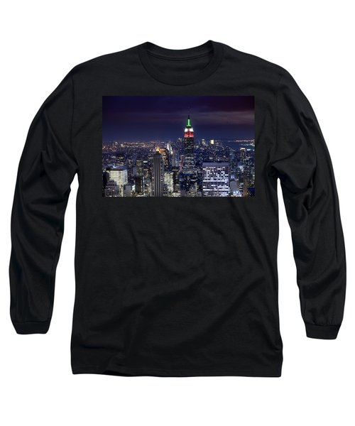 New York Skyline Night Color Long Sleeve T-Shirt