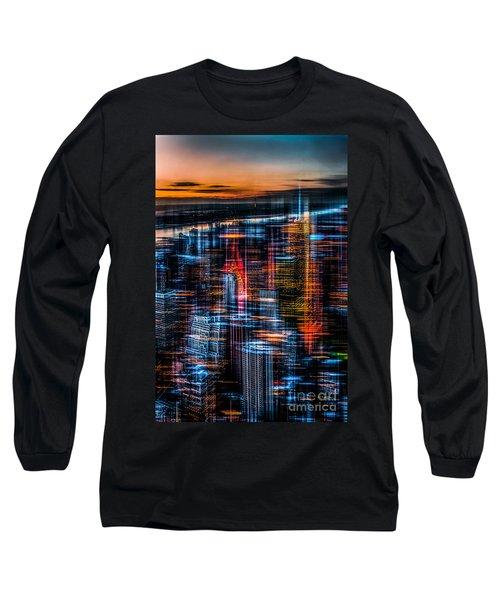 New York- The Night Awakes - Orange Long Sleeve T-Shirt