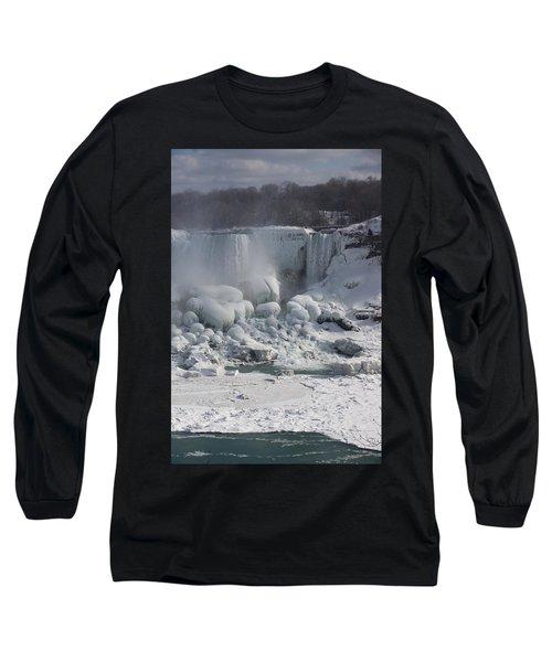 Niagara Falls Ice Buildup - American Falls New York State U S A Long Sleeve T-Shirt