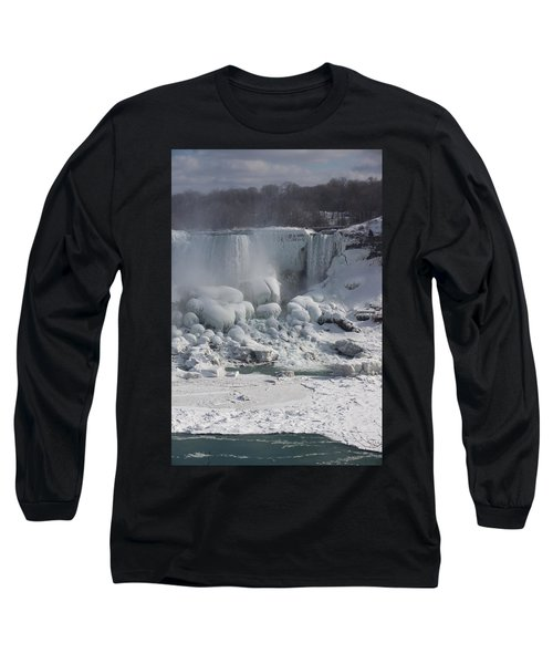 Niagara Falls Ice Buildup - American Falls New York State U S A Long Sleeve T-Shirt