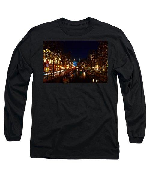 Nieuwe Spieglestraat At Night Long Sleeve T-Shirt by Jonah  Anderson