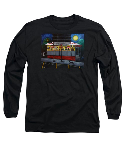 Long Sleeve T-Shirt featuring the painting Night At An Arlington Diner by Victoria Lakes