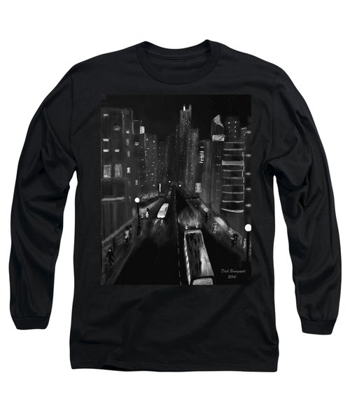 Night City Scape Long Sleeve T-Shirt by Dick Bourgault